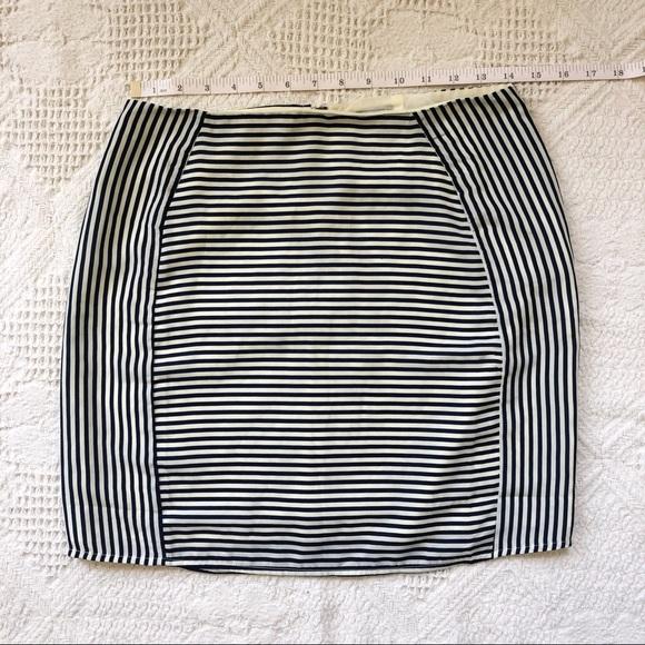 Tobi Navy Blue and White Striped Mini Skirt